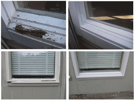 wood rot repair company in overland park kansas making wood rot repairs on a house
