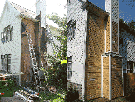 workers doing wood siding repair on olathe ks house exterior
